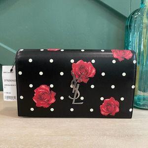 NEW Saint Laurent WOC Chain Wallet Roses Black